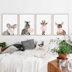 Animals Bubble Gum Art Canvas - Ivy and Wilde – Art + Interior Framed Wall Art, Canvas Wall Art, Wall Art Prints, 3 Panel Wall Art, In China, Chewing Gum, Animal Art For Home, Girls Bedroom, Bedroom Decor