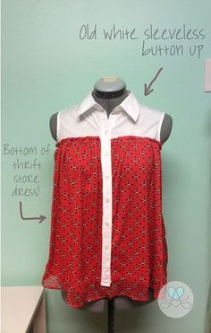 Shirt + Dress Refashion {Lovera Loft} I'm not even a fan of sleeveless button ups, and I like this repurposing idea.