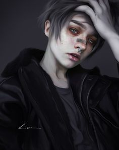 Akvinv - by Laura H. Ftm Haircuts, Character Inspiration, Character Art, Cool Instagram Pictures, Circus Outfits, Human Doll, Aesthetic People, Water Art, Kawaii Drawings