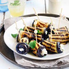 Eggplant Roll Ups Stuffed with Ricotta, Cumin, Mint + Lemon #glutenfree #vegetarian