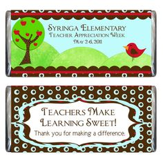 Teacher Appreciation Candy Bar Wrapper and by iwant2remember