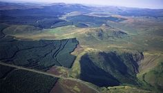 looking down across the hills and the Devil's Beeftub, near Moffat, Scotland