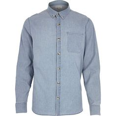 e96407830 Blue bleach printed denim long sleeve shirt  riverisland  RImenswear