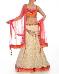 #Exclusivelyin, #IndianEthnicWear, #IndianWear, #Fashion, White Lengha with Embroidered Patterns & Orange Blouse