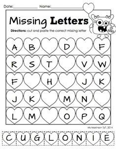 """February Printable Packet - Kindergarten Literacy and Math. Missing letter """"cut and paste"""" worksheet for Valentine's Day. by BethenyAsher"""