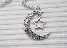 silver moon necklace moon and star necklace fashion jewellery celestial necklace handmade necklace gift for women silver necklace moon star