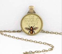 Bumblebee Queen Bee  Emily Dickinson Vintage Print Glass Pendant Necklace by northstarpendants. Explore more products on http://northstarpendants.etsy.com