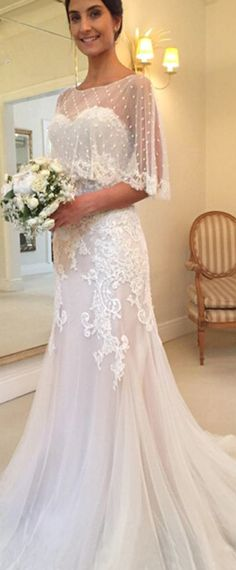 Amazing Tulle & Satin Sweetheart Neckline Mermaid Wedding Dresses With Beaded Lace Appliques Handmade Wedding Dresses, Modest Wedding Dresses, Elegant Wedding Dress, Designer Wedding Dresses, Trendy Wedding, Bridal Dresses, Beaded Dresses, Lace Mermaid Wedding Dress, Wedding Dress With Shawl