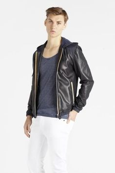 Non-traditional but love this Surface to Air hooded leather jacket.