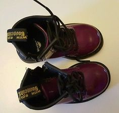 Dr Martens Brooklee Purple Patent Leather Lace Up Zip Boots UK Infant 6, EUR 23