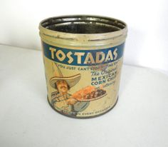 1940s Tostadas Advertising Tin Rustic Container by JackpotJen, $16.95