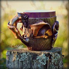 Coffee or tea mug decorated with a polymer clay... http://www.cuteart.sk/d/teplo-domova---hrncek-medium-1002775/
