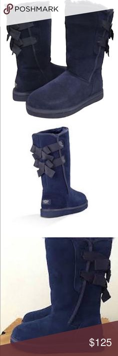 NEW UGG EVERLEIGH With original box Fixed bows detailed on back shaft.-Soft suede upper.-Natural wool UGGpure lining.-Lightweight, flexible molded EVA outsole UGG Shoes Winter & Rain Boots