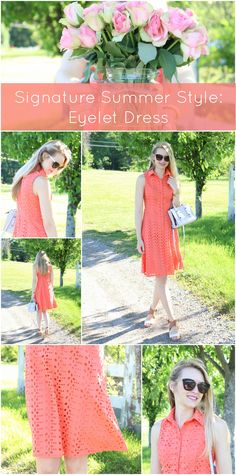 On the lookout for a signature summer dress? Look no further than this coral eyelet number for classic summer fashion! P.S. - the length (just above the knee) is so perfect for feeling comfortable!