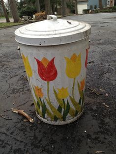 Hand painted garbage can