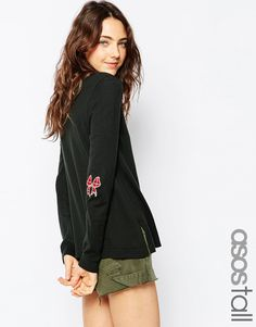 ASOS TALL Jumper With Christmas Tartan Bow Elbow Patch