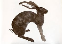 Large hand pulled linocut print of a Hare by BabsPeaseDesign, $153.00