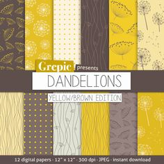 Digital paper dandelions Dandelions yellow / brown with by Grepic, $4.80