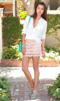Silk shirt, crochet skirt.