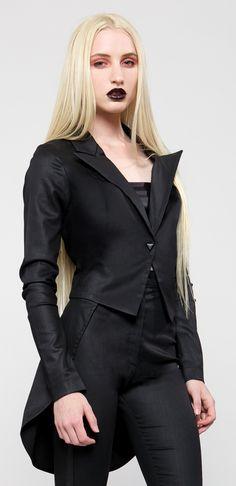aa9b6777bb52 Womens - Outerwear - Black Ice - Black Wax Coated Stretch Twill Tuxedo  Jacket - Style