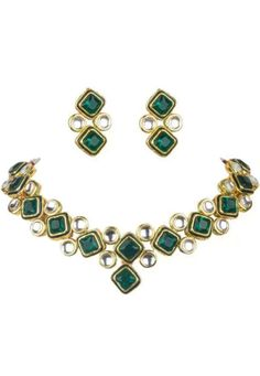 Shop Green Alloy Austrian Diamond Necklace Set Earrings 199006 online from huge collection of indian ethnic jewellery at Indianclothstore.com. Diamond Necklace Set, Ethnic Jewelry, Jewellery, White Stone, Design Show, Necklace Designs, Earring Set, Perfume, Velvet