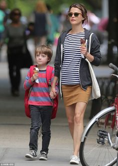 Her favourite shirt? The mother-of-two sported navy blue and white stripes on Tuesday during an ice cream run with her son River