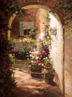 Pinturas que me gustan: patio,carretilla,regadera, ventana... con flores