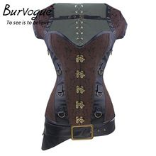 Burvogue 3 Pcs & 12 Steel Bones Corset Overbust Steampunk Corset Women Waist Trainer Sexy Gothic Corset Top Slimming Corselet //Price: $US $35.99 & Up To 18% Cashback //     #gothicoutfit