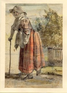 """""""An old woman walking with a stick"""" by Paull Sandby, one of the figure sketches made in Edinburgh and the neighbourhood after the rebellion of 1745. British Museum, Accession #Nn,6.58."""