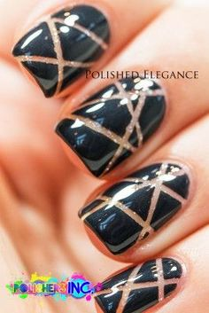 The sparkly nude adds glamour to this negative space mani from Polished Elegance.
