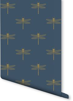 Add an air of sophistication to your home with this Dragonfly pattern wallpaper design. Intricate dragonfly illustrations are set against a smart navy colour to give a fascinating wallpaper design. Perfect for home office spaces.