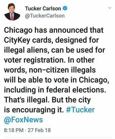 Throw all votes from harboring criminals cities out! Now they've done this in California and Illinois so their folks shouldn't count because that would be foreign interference because they are foreigners they are not American citizens they are criminals. Democrats and everyone office again they should really think that over before they start doing stupid crap