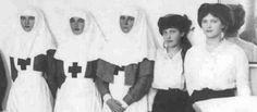 Empress Alexandra Feodorovna as a Red Cross Nurse with her four daughters… two eldest daughters also as nurses- Grand Duchesses Olga and Tatiana Nikolaevna Romanov. Anastasia and Marie Nikolaevna Romanov were too young to serve as nurses during World...