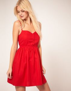 Red summer dress with boots
