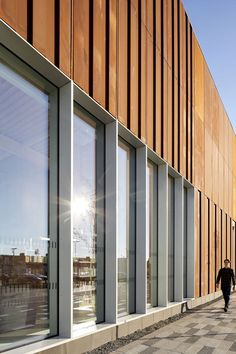 FaulknerBrowns Architects adds weathering steel facade to new Hebburn Central community centre Architecture Design, Architecture Panel, Industrial Architecture, Facade Design, Chinese Architecture, Architecture Office, Futuristic Architecture, Glass Building, Building Facade