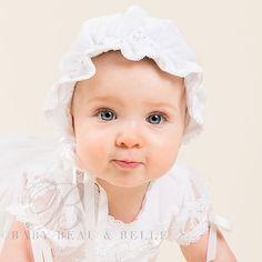 Baby Girl White Bonnet - Louisa Christening & Baptism Collection