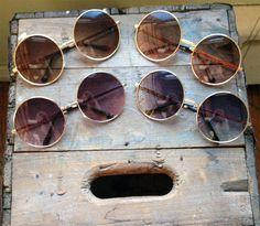 Oversized Round Sunglasses Vintage Purple Hippie Circle Glasses - Dempsey & Gazelle (Brown)