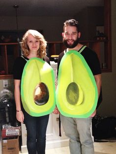 "homemade avocado costume! ""you're my other half"" #avocado #costume #homemade"