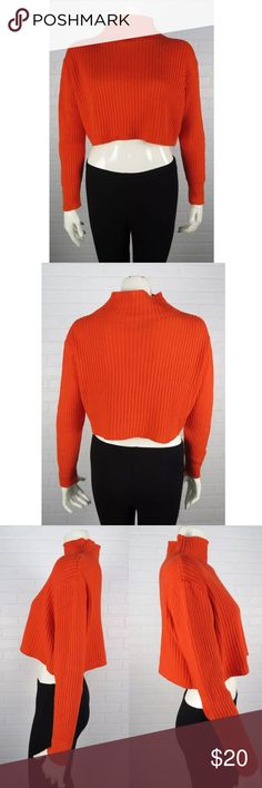 """Nordstrom BP. Ribbed Cropped Turtleneck Sweater M Nordstrom brand BP. Orange Ribbed Turtleneck Cropped Long Sleeve Sweater. Pullover style. Excellent condition: no holes, rips, tears, or holes. Sleeves approx.: 20 1/2"""" Sweater length approx.: 15."""" Chest approx.: 40."""" Fit: True to Size. *measurements taken while item is laying flat and unstretched* bp Sweaters Cowl & Turtlenecks"""
