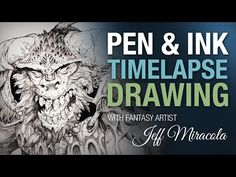 Time-lapse Ink drawing of monster on playmat by fantasy artist Jeff Miracola - YouTube
