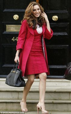 Kelly Brook in a stunning red coat, dress & nude peep toe Louboutins
