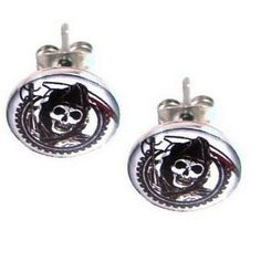 """Mens or Womens Stainless Steel Sons of Anarchy Stud Earrings - 10 mm Diameter (.39""""). Ships from USA. hypoallergenic. 100% Satisfaction Guaranteed. FREE GIFT BAG WITH EVERY ORDER ! (Timeless Treasures Imprinted)."""