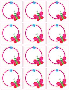 ★..Dulces Momentos..★: Imprimibles Printable Labels, Printable Paper, Printables, Printable Butterfly, Borders For Paper, Borders And Frames, Birthday Charts, School Labels, Name Stickers