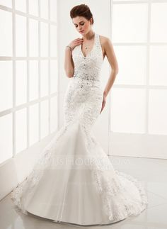 Wedding Dresses - $196.99 - Trumpet/Mermaid Halter Chapel Train Satin Tulle Wedding Dress With Lace Beading (002012139) http://jjshouse.com/Trumpet-Mermaid-Halter-Chapel-Train-Satin-Tulle-Wedding-Dress-With-Lace-Beading-002012139-g12139