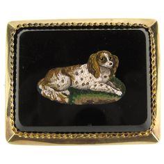 Antique Micro Mosaic 15 Karat Gold King Charles Spaniel Pendant Brooch For Sale at Gold Brooches, Vintage Brooches, Antique Necklace, Antique Jewelry, King Charles Spaniels, Spaniel Breeds, Dog Jewelry, Fine Jewelry, Cameo Pendant