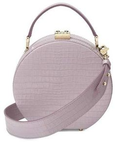 Aspinal of London Aspinal of London Mini Hat Box Bag In Deep Shine Lilac  Small Croc 5690f5d77c