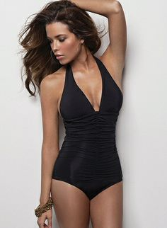 Classic plunging halter maillot with ruching by MAIO Swim by Monica Wise, $176.00