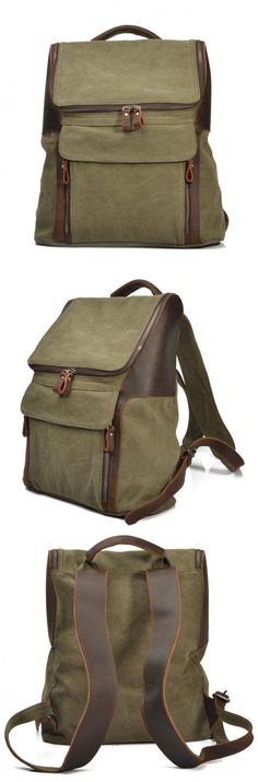 Canvas Leather Backpack School Backpack Rucksack