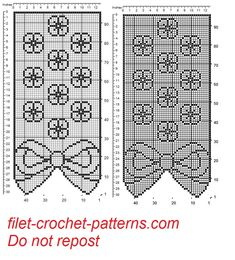 Curtain with bow and flowers filet patten - free filet crochet patterns download