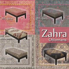 Surya's Zahra ottoman collection embodies timeless charm with its faded bohemian look and exquisite hand-knotted construction.